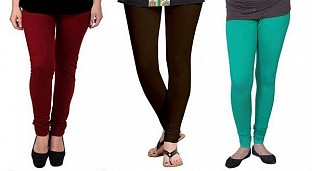 Cotton Brown,Dark Brown and Rama Green Color Leggings Combo @ Rs617.00