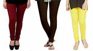 Cotton Brown,Dark Brown and Light Yellow Color Leggings Combo @ Rs617.00