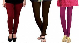 Cotton Brown,Dark Brown and Dark Pink Color Leggings Combo @ Rs617.00