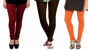 Cotton Brown,Dark Brown and Orange Color Leggings Combo@ Rs.617.00