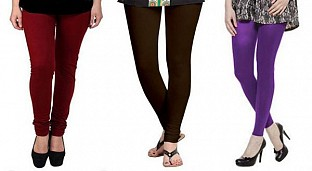 Cotton Brown,Dark Brown and Purple Color Leggings Combo @ Rs617.00