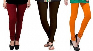 Cotton Brown,Dark Brown and Dark Orange Color Leggings Combo @ Rs617.00