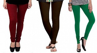 Cotton Brown,Dark Brown and Dark Green Color Leggings Combo @ Rs617.00