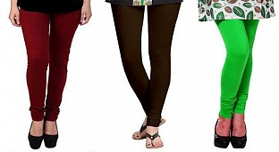 Cotton Brown,Dark Brown and Light Green Color Leggings Combo @ Rs617.00