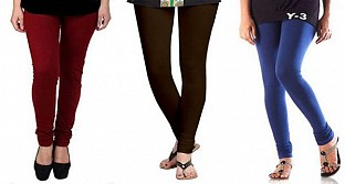 Cotton Brown,Dark Brown and Blue Color Leggings Combo @ Rs617.00