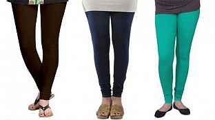 Cotton Dark Brown,Dark Blue and Rama Green Color Leggings Combo@ Rs.617.00