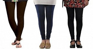 Cotton Dark Brown,Dark Blue and Black Color Leggings Combo @ Rs617.00