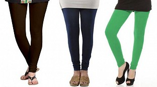 Cotton Dark Brown,Dark Blue and Green Color Leggings Combo @ Rs617.00