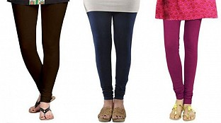 Cotton Dark Brown,Dark Blue and Dark Pink Color Leggings Combo @ Rs617.00