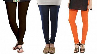 Cotton Dark Brown,Dark Blue and Orange Color Leggings Combo @ Rs617.00
