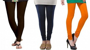 Cotton Dark Brown,Dark Blue and Dark Orange Color Leggings Combo@ Rs.617.00
