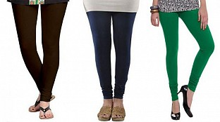 Cotton Dark Brown,Dark Blue and Dark Green Color Leggings Combo@ Rs.617.00