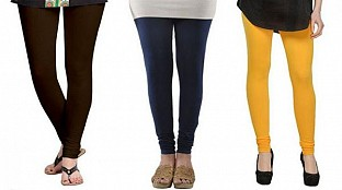 Cotton Dark Brown,Dark Blue and Yellow Color Leggings Combo@ Rs.617.00