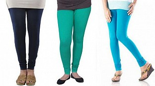 Cotton Dark Blue,Rama Green and Sky Blue Color Leggings Combo @ Rs617.00