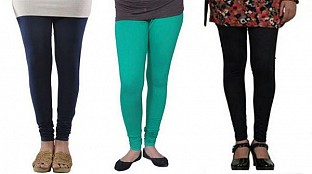 Cotton Dark Blue,Rama Green and Black Color Leggings Combo @ Rs617.00