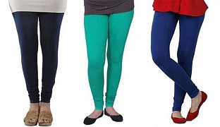 Cotton Dark Blue,Rama Green and Royal Blue Color Leggings Combo @ Rs617.00