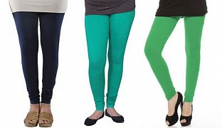 Cotton Dark Blue,Rama Green and Green Color Leggings Combo @ Rs617.00