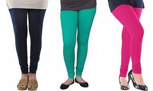 Cotton Dark Blue,Rama Green and Pink Color Leggings Combo @ Rs617.00