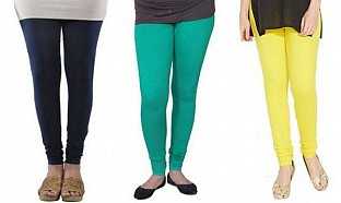 Cotton Dark Blue,Rama Green and Light Yellow Color Leggings Combo @ Rs617.00