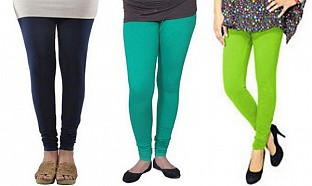 Cotton Dark Blue,Rama Green and Parrot Green Color Leggings Combo @ Rs617.00