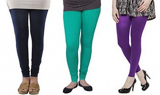 Cotton Dark Blue,Rama Green and Purple Color Leggings Combo@ Rs.617.00