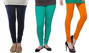 Cotton Dark Blue,Rama Green and Dark Orange Color Leggings Combo @ Rs617.00