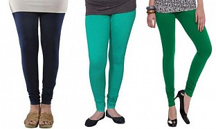 Cotton Dark Blue,Rama Green and Dark Green Color Leggings Combo @ Rs617.00