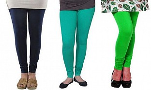 Cotton Dark Blue,Rama Green and Light Green Color Leggings Combo @ Rs617.00
