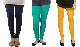 Cotton Dark Blue,Rama Green and Yellow Color Leggings Combo @ Rs617.00