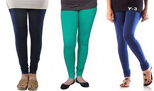Cotton Dark Blue,Rama Green and Blue Color Leggings Combo@ Rs.617.00