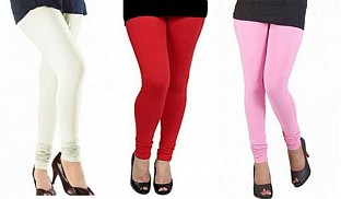 Cotton Off White,Red and Light Pink Color Leggings Combo @ Rs617.00