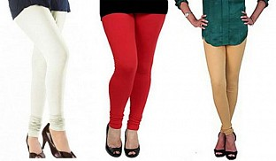 Cotton Off White,Red and Biege Color Leggings Combo@ Rs.617.00