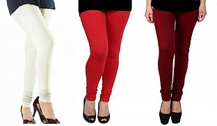 Cotton Off White,Red and Brown Color Leggings Combo @ Rs617.00