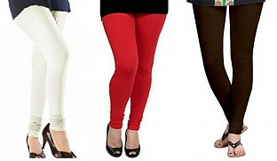 Cotton Off White,Red and Dark Brown Color Leggings Combo @ Rs617.00