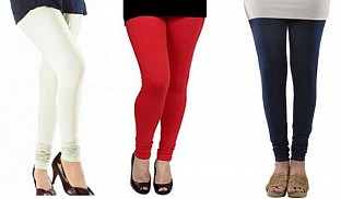 Cotton Off White,Red and Dark Blue Color Leggings Combo @ Rs617.00