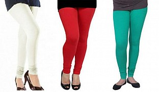 Cotton Off White,Red and Rama Green Color Leggings Combo @ Rs617.00