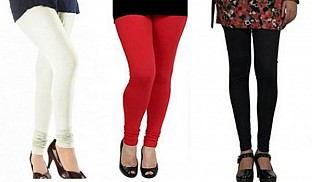 Cotton Off White,Red and Black Color Leggings Combo @ Rs617.00