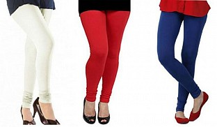 Cotton Off White,Red and Royal Blue Color Leggings Combo @ Rs617.00