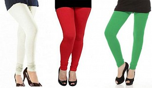 Cotton Off White,Red and Green Color Leggings Combo @ Rs617.00