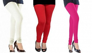 Cotton Off White,Red and Pink Color Leggings Combo @ Rs617.00