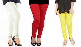 Cotton Off White,Red and Light Yellow Color Leggings Combo @ Rs617.00
