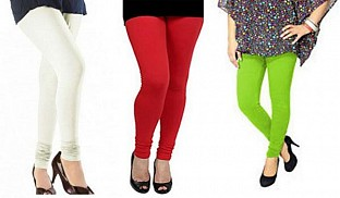 Cotton Off White,Red and Parrot Green Color Leggings Combo @ Rs617.00