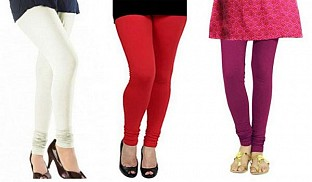 Cotton Off White,Red and Dark Pink Color Leggings Combo @ Rs617.00