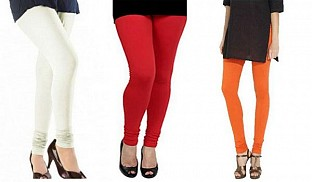 Cotton Off White,Red and Orange Color Leggings Combo @ Rs617.00