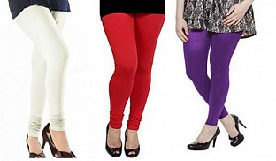 Cotton Off White,Red and Purple Color Leggings Combo@ Rs.617.00