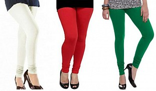 Cotton Off White,Red and Dark Green Color Leggings Combo @ Rs617.00