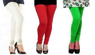 Cotton Off White,Red and Light Green Color Leggings Combo @ Rs617.00