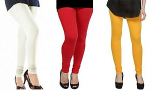 Cotton Off White,Red and Yellow Color Leggings Combo@ Rs.617.00