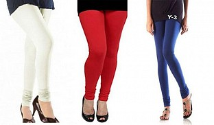 Cotton Off White,Red and Blue Color Leggings Combo@ Rs.617.00