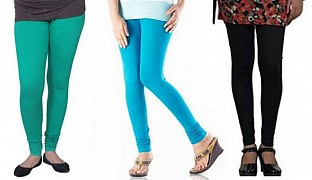 Cotton Rama Green,Sky Blue and Black Color Leggings Combo@ Rs.617.00